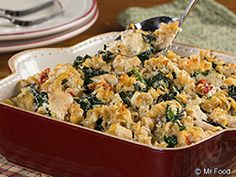 Chicken and Kale Casserole - This creamy dinner casserole is full of all of your favorite ingredients, including chicken, pasta, cheese, kale, and more!