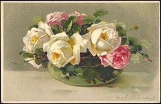 Artist Postcard Catharina Klein, Weiße u rote Rosen in Vase