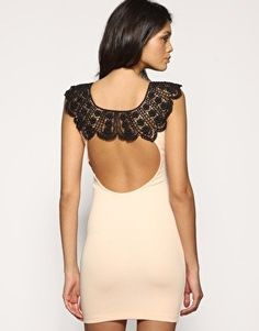 ASOS PETITE Lace Neck Open Back Dress