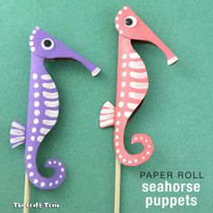 Create adorable seahorse puppets from paper rolls using a flatten and cut technique