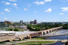 Minneapolis, MN - River View from  the 9th floor of the Mill City Museum.