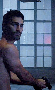 Derek - Seems weird him holding a gun.