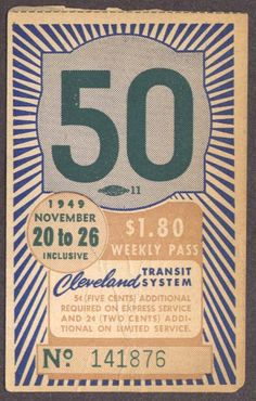 Weekly pass from Cleveland (Ohio) Transit System (1949)
