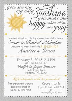 You Are My Sunshine   Baby Shower Invitation | My Sunshine, You Are My And  Shower Ideas