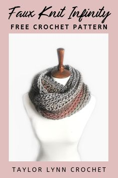 You can crochet but can't knit? Fake it until you make it with this infinity faux knit stitch scarf pattern. You'll get the gorgeous knit look without. Crochet Infinity Scarf Free Pattern, All Free Crochet, Knit Crochet, Crochet Patterns, Crochet Ideas, Crochet Hats, Different Crochet Stitches, Crochet Scarves, Butterfly Dragon