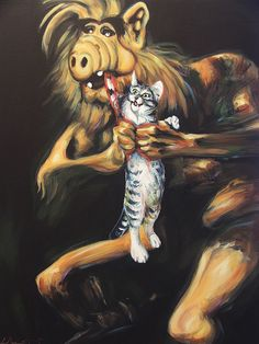 Alf Devouring His Cat by Hillary White. Based on Francisco Goya's Saturn Devouring His Son.    #painting #art #awesome #surrealism #parody #pop_culture #tvshows
