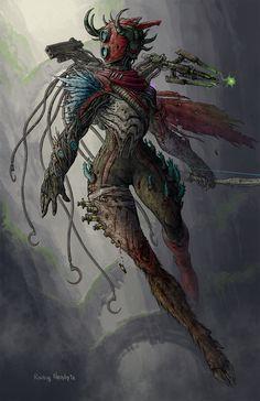 Risk of Rain 2 - The Huntress by RovingNeophyte on DeviantArt Fantasy Character Design, Character Creation, Character Art, Dark Souls, Battle Angel Alita, Rain Art, Video Game Art, Video Games, Character Modeling