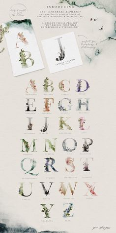 Ethereal Woodland - Graphic Set by OpiaDesigns on Professional watercolor font with all alphabet modern and vintage. This cool calligraphy script is perfect for tattoo design fun lettering typography graphic wedding and all other creative stuff. Watercolor Typography, Watercolor Illustration, Botanical Illustration, Graphic Illustration, Watercolor Paper Texture, Watercolor Design, Watercolor Paintings, Web Design, Graphic Design