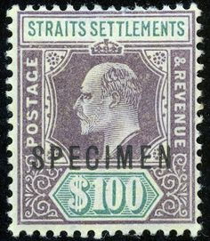 """Straits Settlement 1902 (Apri)-03 """"Specimen"""" $100. Purple & Green/yellow - SG122 Strait Of Malacca, Straits Settlements, Crown Colony, Cocos Island, Old Stamps, Labuan, Southeast Asia, Postage Stamps, Africa"""