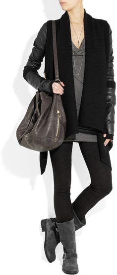 Donna Karan New York Leather and Ribbed Knit Wool and Cashmere Blend Cozy in Black - Lyst
