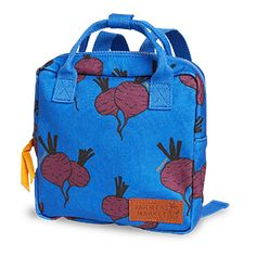 A lovely backpack covered with sweet beetroots.