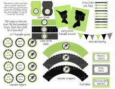 DIY printable Boy/Girl disney PETER PAN birthday party pack black and Green silhouette