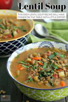 This easy lentil soup recipe will have dinner on the table with little effort. #lentilsoup #souprecipes #easydinner #soupfordinner Lentil Soup Recipes, Chili Recipes, Crockpot Recipes, Sauce Recipes, Easy Soups To Make, Easy Meals, Weeknight Meals, Healthy Dishes, Healthy Recipes