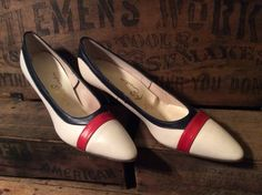 Vintage Antique 1960's Red White Blue Leather  Mr. by MADVintology, $15.00