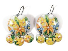 Recycled Tin Earrings - Coral, Green and Gold Floral with Beads ...
