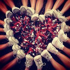 My cheer team did this! It is such a cute cheer photo idea! Football Cheer, Cheer Camp, Cheer Coaches, Cheer Stunts, Cheer Dance, Varsity Cheer, Youth Cheer, Team Cheer, Basketball Cheers