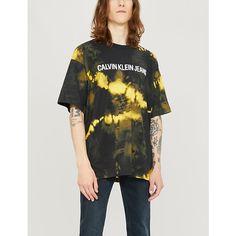 Ck Jeans Logo-print Tie-dye Cotton-jersey T-shirt In Black Yellow Ck Calvin Klein, Calvin Klein Jeans, Ck Jeans, Cool Ties, Black N Yellow, Tie Dye, Short Sleeves, T Shirts For Women, Logo