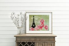 Eiffel Tower Botanical Print Wall Art, Paris Theme Decor Flower Art Print Watercolor Floral Artwork, Floral Wall Art, Paris Theme Decor, Eiffel Tower Art, Paris Wall Art, Farmhouse Wall Art, Art Story, Country Art, French Provincial