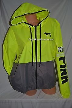 NEW Victoria's Secret Pink Neon Yellow Lemon Anorak Full Zip Windbreaker XS/S