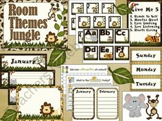 Room Themes - Jungle from 1st Grade Teacher on TeachersNotebook.com (56 pages)