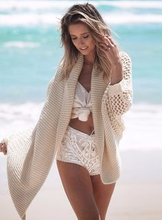 Batwing Sleeve Open front Loose Hollow out Cardigan   victoriaswing