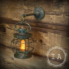 Vintage Industrial Brass Wall Lamp Sconce Hanging Lantern Pendant Green Antique Glass Bottom Railroadiana Nautical