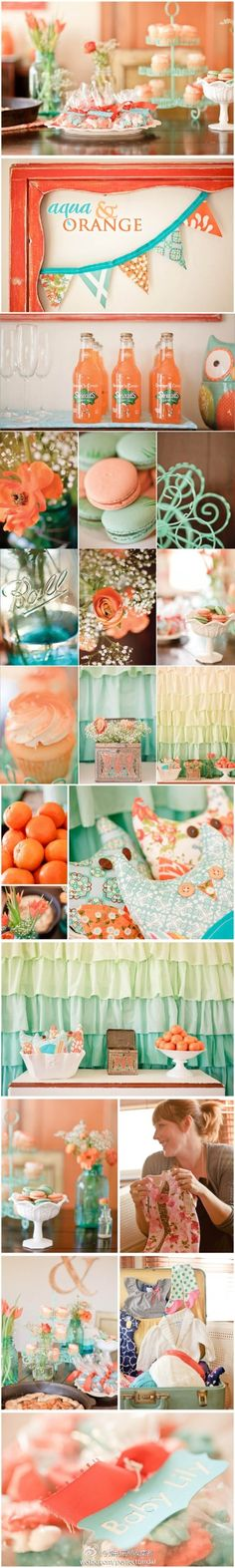 Aqua & Orange inspiration - cute alternative for yellow/green for showers w/o knowing sex of baby :)