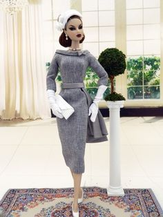 Gray Shade OOAK '50's Fashion for Royalty/Silkstone/Vintage Barbie by Joby Originals