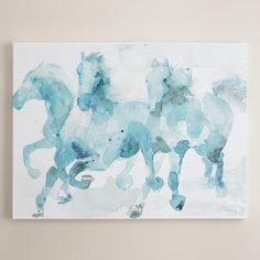 """Art/wall Decor - An intriguing mix of abstract and descriptive styles, Paul Valencay's watercolor effortlessly captures the energy and fluid movement of his equine subjects. Its serene black and white palette makes """"Watercolor Horses"""" a well-balanced addition to any wall."""