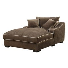 Emerald Caresse Mocha Down Filled Chaise Lounge