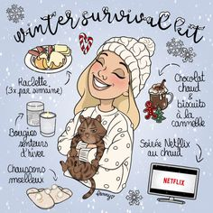 With a little delay (winter started December here is my . - Apocalypse Now And Then Winter Illustration, Illustration Girl, Start Of Winter, Winter Survival, Cute Art Styles, Christmas Aesthetic, Cellphone Wallpaper, Winter Is Coming, Stickers
