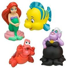Disney Ariel Bath Toy Play Set -- 4-Pc. by Disney. $31.99. Figures up to 5 1/2'' H. Set Includes: Ariel, Ursula, Sebastian and Flounder. Plastic. Clear carry case with mesh bottom and zippered closure. Ages 2+. . Set Includes: Ariel, Ursula, Sebastian and Flounder. Clear carry case with mesh bottom and zippered closure. Plastic. Figures up to 5 1/2'' H. Ages 2+. Imported.