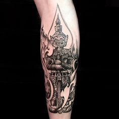 Thai Yak (giant) piece by Birdman Temple Tattoo, Tattoo Art, Bangkok, Tatting, Tattoo Ideas, Skull, Legs, Lace Making, Bridge