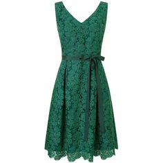 Phase Eight Eliana dress ($180) ❤ liked on Polyvore featuring dresses, clearance, emerald, bow dress, rosette dress, green pleated dress, sleeveless v neck dress and sleeveless cocktail dress