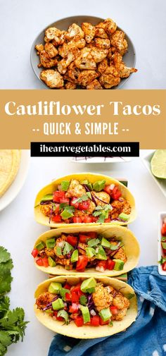 These roasted cauliflowers are a healthy way to satisfy your taco craving! With plenty of spices, this roasted cauliflower makes a delicious taco filling! #vegetarian #vegan #gf #glutenfree #simple #roasted Gluten Free Recipes For Dinner, Delicious Dinner Recipes, Gluten Free Cooking, Vegan Snacks, Vegan Meals, Vegan Recipes, Cauliflower Tacos, Roasted Cauliflower, Cauliflowers