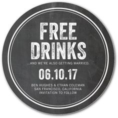 Free Drinks - Save the Date Coasters in Charcoal or Walnut | Magnolia Press