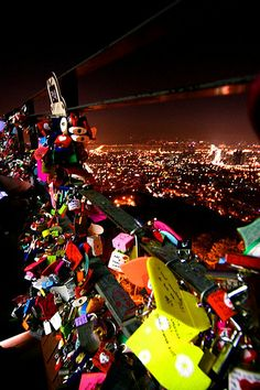 Locks of Love at N Seoul Tower. How romantic <3