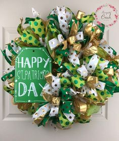 St. Patrick's Day Wreath for Front Door, St. Paddy's Day Wreath, Christmas Wreath Sale, Porch Decor, Outdoor Wreath by MosquitoCreekCrafts on Etsy https://www.etsy.com/listing/554658564/st-patricks-day-wreath-for-front-door-st