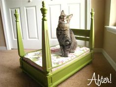 Kid Friendly Table Transformation love how they took a side table turned it upside down, painted it, glued on finials and made a fabric covered cushion. Ultimately a kitty bed for a queen kitty!