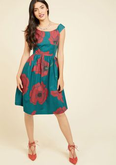 Your poised attitude is adored the world over, and once you flaunt it alongside this teal midi dress, you'll be just as revered for your style! Cap sleeves, a bateau neckline, and a lush print of red poppies accentuate this pocketed, ModCloth-exclusive A-line, highlighting your elegant and admirable attributes.