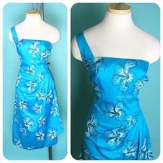Vintage 1950s SHAHEEN One Shoulder Turquoise Hawaiian by hipsmcgee