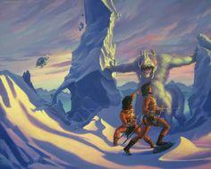 "Cover art for Edgar Rice Burroughs ""Llana of Gathol"" by Michael Whelan. Part of the Barsoom (Mars) series of books. See the Disney film John Carter. ERB created Tarzan as well. The John Carter books influenced Star Wars, Stargate, Conan the Barbarian and Avatar."