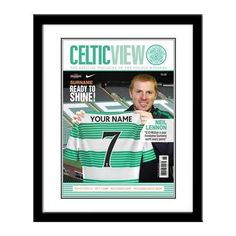 Personalised Football Photo Frames A must for Football fanatics. Our Football Photo Frames will show your name & shirt number of your favourite football team Gifts For Boys, Fathers Day Gifts, Magazine Front Cover, Personalized Football, Celtic Fc, Football Photos, Sports Gifts, Frame, Mad