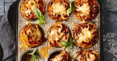 Turn family favourite spaghetti bolognese into these cute muffin cups for an A  lunchbox snack.