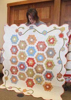 Grandmother's Flower Garden block #quilt by Emily Herrick