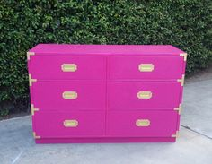 Hot Pink and Gold Campaign Dresser by theHouseofWillow