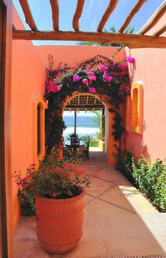 mexican outdoor scene and I really like the burnt orange color. want a colorful beach house not too crazy on washed out colors. i like this :)