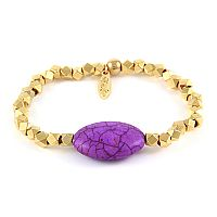 Custom Oval Stone with Multi Faceted Beads Elastic Bracelet