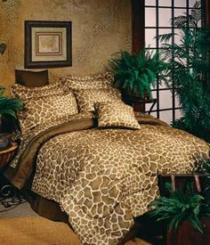Giraffe Queen Size Bed In A Bag Comforter Set by Kimlor. $151.99. This fun beige and brown Giraffe print bedding evokes images of an African safari and adds an exotic change of pace to any bedroom. The Giraffe skin design is a perfect complement to safari style decor or kid?s bedroom. All bedding components are Giraffe print. Giraffe Bed In A Bag Sets include 1 comforter set and 1 matching sheet set