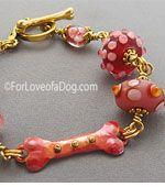 Raspberry Pink Dog Bone Bracelet Lampwork Copper Gold OOAK Handmade Jewelry